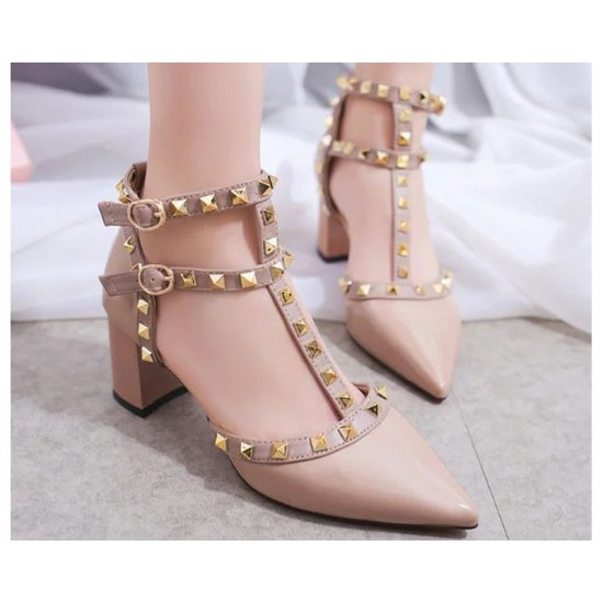 Cream Color Rivet Pointed T Type Strap Womens Sandals S-65