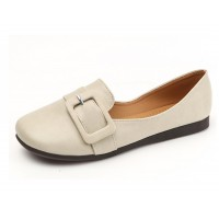 Women Cream Leather Shallow Mouth Flat Shoes S-68