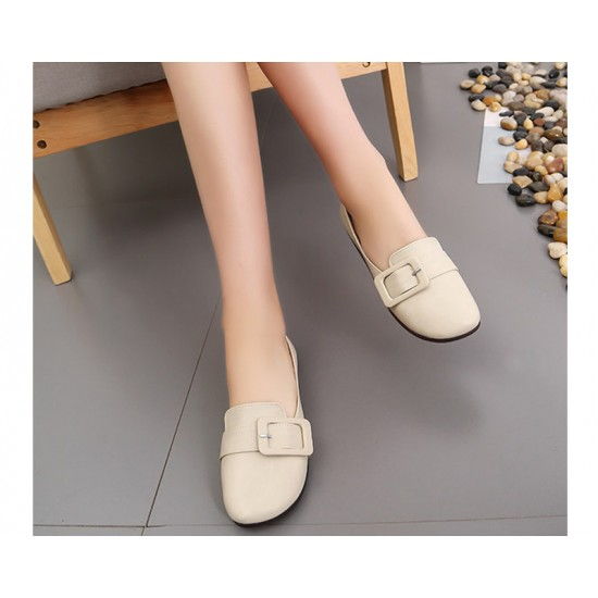 Women Cream Leather Shallow Mouth Flat Shoes S-68 image