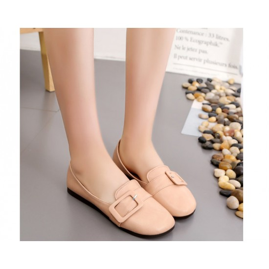 Women Biege Leather Shallow Mouth Flat Shoes S-68
