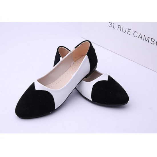 Black Color Tide Shallow Mouth Sweet Peas Round Flat Womens Shoes S-70 image