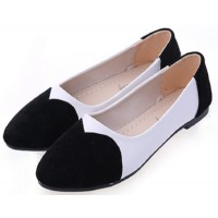 Black Color Tide Shallow Mouth Sweet Peas Round Flat Womens Shoes S-70