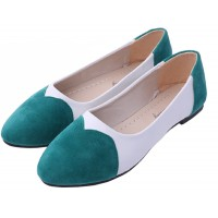 Green Color Tide Shallow Mouth Sweet Peas Round Flat Womens Shoes S-70