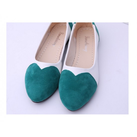 Green Color Tide Shallow Mouth Sweet Peas Round Flat Womens Shoes S-70 image