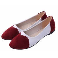 Red Color Tide Shallow Mouth Sweet Peas Round Flat Womens Shoes S-70