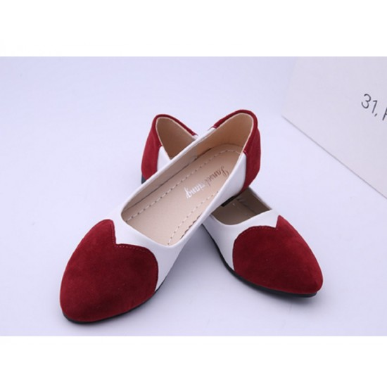 Red Color Tide Shallow Mouth Sweet Peas Round Flat Womens Shoes S-70 image