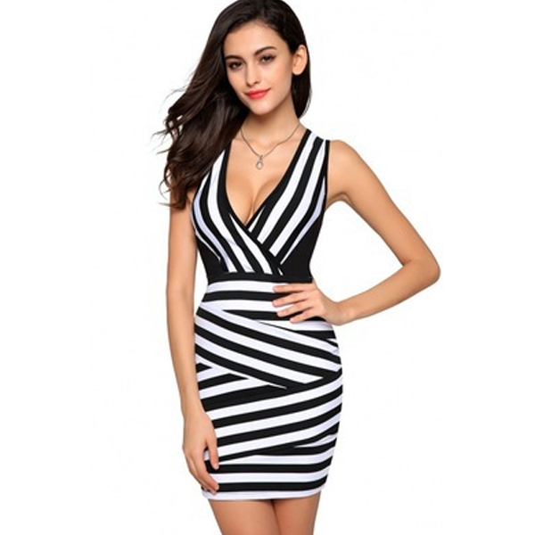 Women Fashion White Color V Collar Sleeveless Mini Dress WC-49 image
