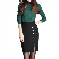 Women Fashion Black Color Elastic High Waist Skirt Dress WC-50