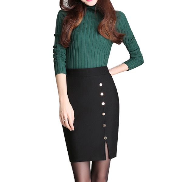 Women Fashion Black Color Elastic High Waist Skirt Dress WC-50 image