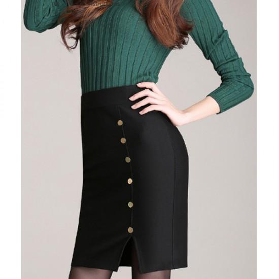 Women Fashion Black Color Elastic High Waist Skirt Dress WC-50