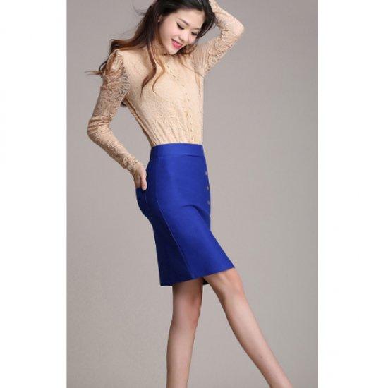 Women Fashion Blue Color Elastic High Waist Skirt Dress WC-50 image