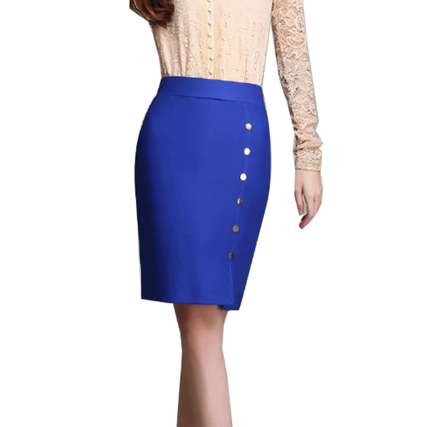 Women Fashion Blue Color Elastic High Waist Skirt Dress WC-50 image