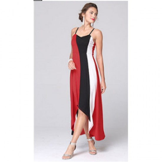 Women Fashion Red Color Large Stitching Striped Dress WC-51 image