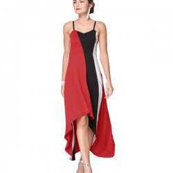 Women Fashion Red Color Large Stitching Striped Dress WC-51