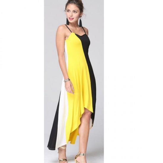 Women Fashion Yellow Color Large Stitching Striped Dress WC-51 image