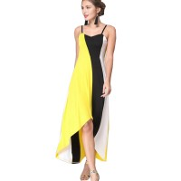 Women Fashion Yellow Color Large Stitching Striped Dress WC-51