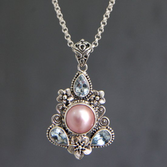 Pink Frangipani Trio Unique Pearl and Blue Topaz Pendant Necklace ANDN-06