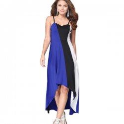 Women Fashion Blue Color Large Stitching Striped Dress WC-51