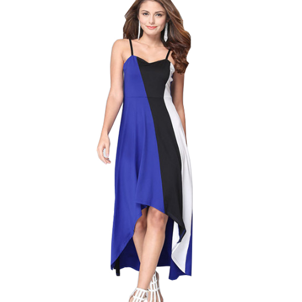 Women Fashion Blue Color Large Stitching Striped Dress WC-51 image