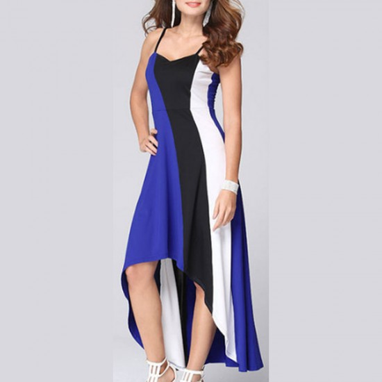 Women Fashion Blue Color Large Stitching Striped Dress WC-51 image
