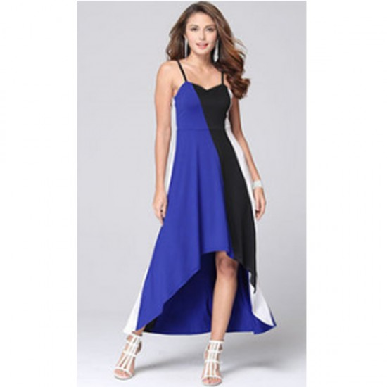 Women Fashion Blue Color Large Stitching Striped Dress WC-51