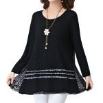 Black Color Lace Stitching Double Layers Women Shirt WC-52|images|Dresses
