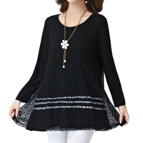 Black Color Lace Stitching Double Layers Women Shirt WC-52 image