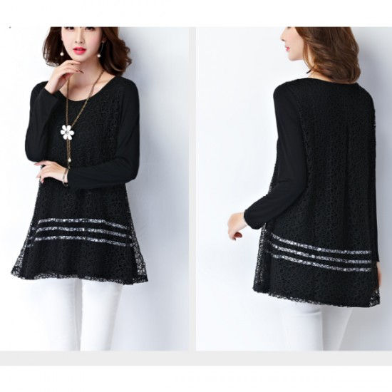 Black Color Lace Stitching Double Layers Women Shirt WC-52