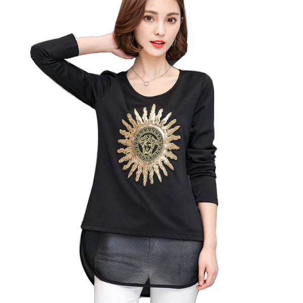 Black Color Thin Slim Long Sleeved Embroidered Women Shirt WC-53|images|Dresses