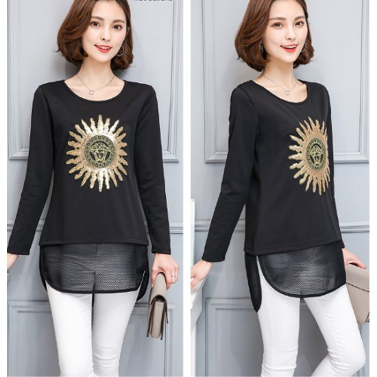 Black Color Thin Slim Long Sleeved Embroidered Women Shirt WC-53
