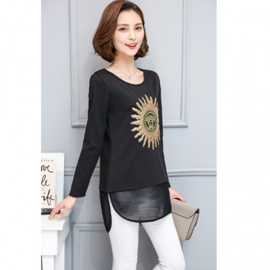 Black Color Thin Slim Long Sleeved Embroidered Women Shirt WC-53 image