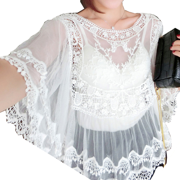 White Color Lace Strapless Fringed Loose Blouse Women Shirt WC-54 image