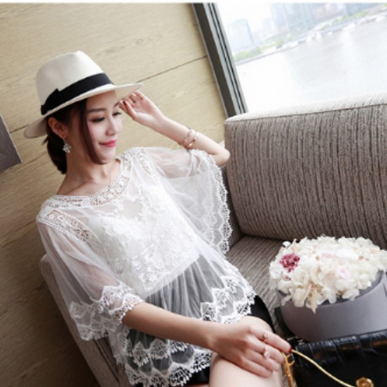 White Color Lace Strapless Fringed Loose Blouse Women Shirt WC-54