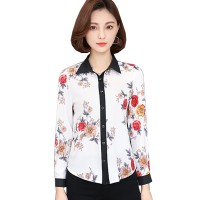 White Color Printing Coat Wild Slim Professional Women Shirt WC-55