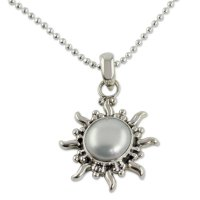 Quiet Sun Pearl Necklace Sun and Moon Sterling Silver Pendant ANDN-05
