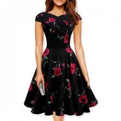 Red Color Retro V Neck Short Sleeve  Women Dress WC-56