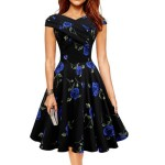 Blue Color Retro V Neck Short Sleeve  Women Dress WC-56|images|Dresses