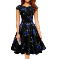 Blue Color Retro V Neck Short Sleeve  Women Dress WC-56