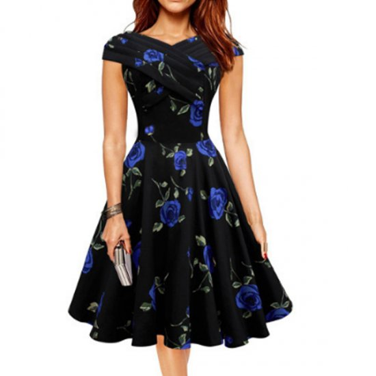 Blue Color Retro V Neck Short Sleeve Women Dress WC-56 image
