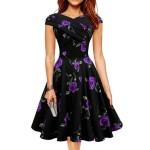 Purple Color Retro V Neck Short Sleeve Women Dress WC-56 image