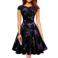 Purple Color Retro V Neck Short Sleeve  Women Dress WC-56