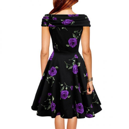 Purple Color Retro V Neck Short Sleeve Women Dress WC-56 image