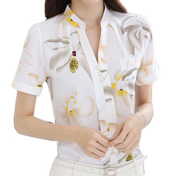 Korean Fashion White Color Han Fan Short Sleeve Women Shirt WC-57 images Dresses