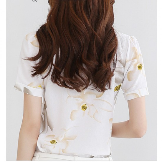 Korean Fashion White Color Han Fan Short Sleeve Women Shirt WC-57