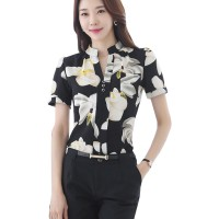 Korean Fashion Black Color Han Fan Short Sleeve Women Shirt WC-57