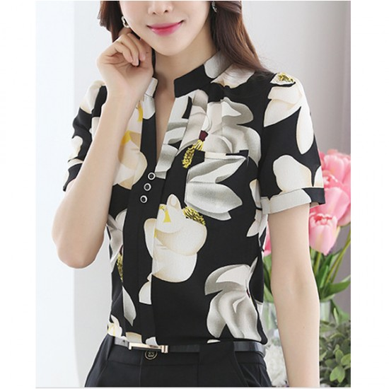 Korean Fashion Black Color Han Fan Short Sleeve Women Shirt WC-57 image