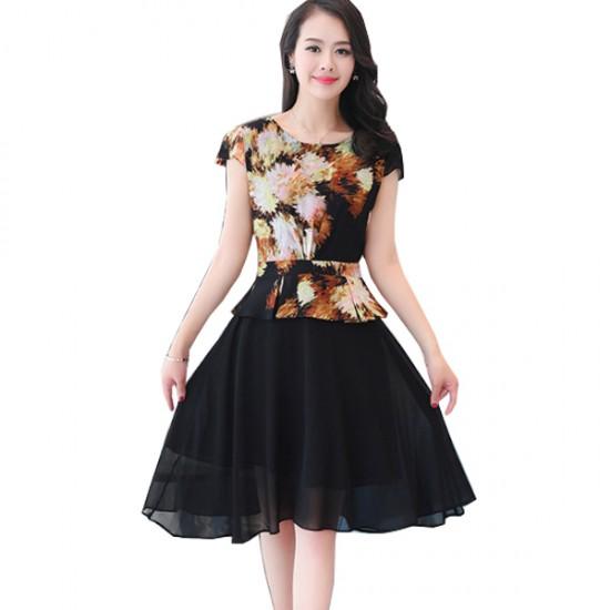 Vintage Fashion Multi Color Large Size Women Dress WC-58 image