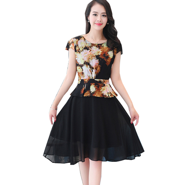 Vintage Fashion Multi Color Large Size Women Dress WC-58 image