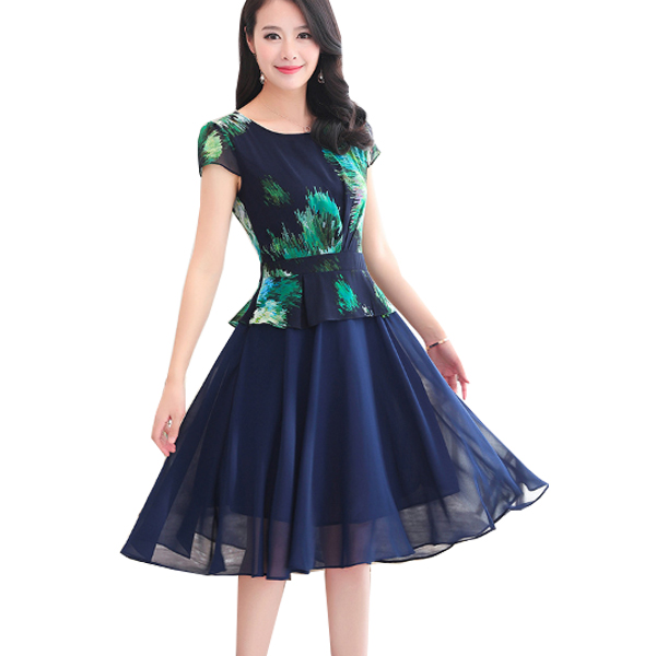 Vintage Fashion Navy Blue Color Large Size Women Dress WC-58 image