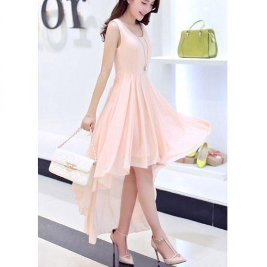 Summer Pink Color Long Bohemian Chiffon Women Dress WC-59 image